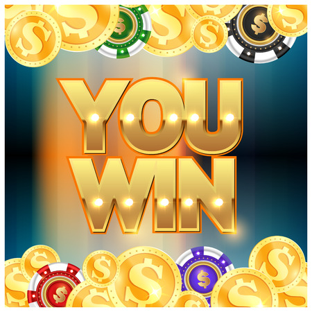 Gold coins set and casino chips you won