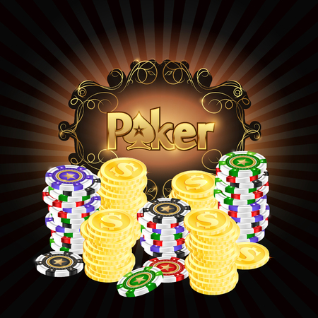 Poker chips and gold coins illustration