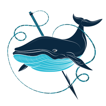 Blue whale and harpoon with rope vector