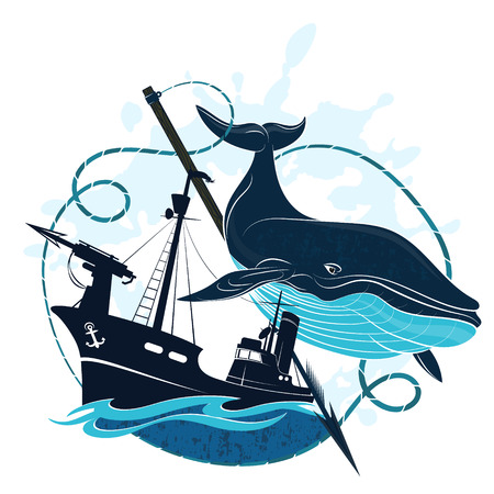Whaler with harpoon and blue whale vector