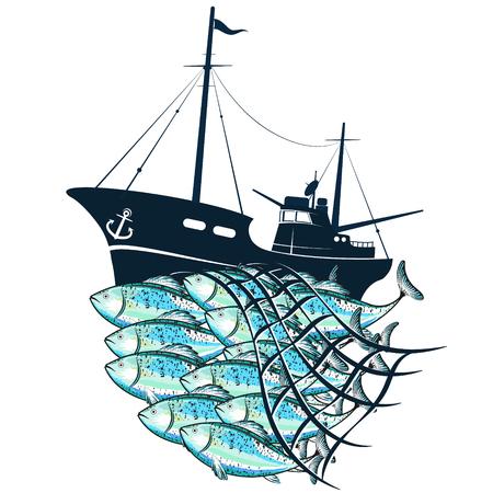 Barco de pesca y bandada de peces en la red. Ilustración de vector