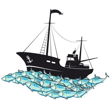 Fishing boat on the beach Illustration