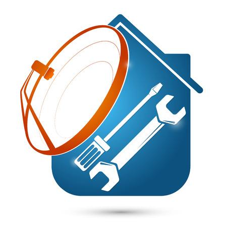 Satellite dish home installation silhouette vector