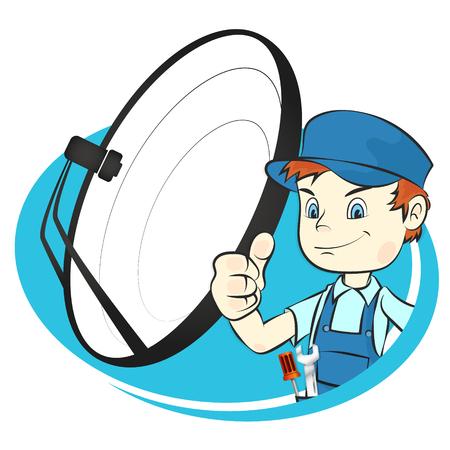 Vector de trabajador de instalación de antena de satélite
