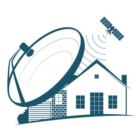 Satellite dish and satellite Ilustración de vector