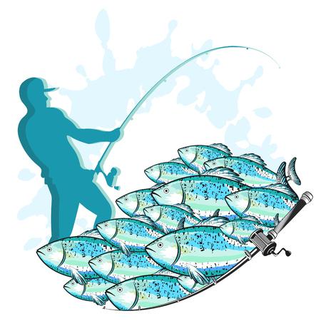 Pescador con una caña de pescar y una bandada de peces