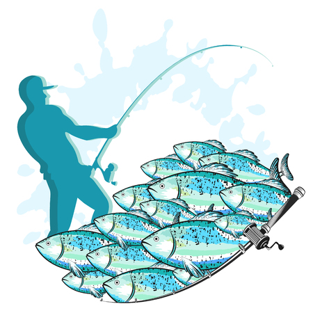 Fisherman with a fishing rod and a flock of fish