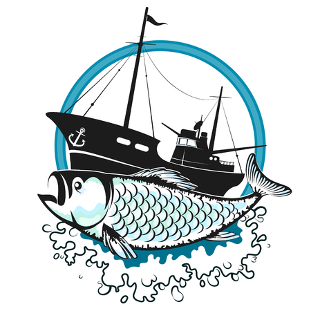 Fishing trawler on the waves and fish silhouette