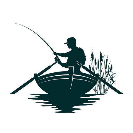 Fisherman with a fishing rod and reeds Stock Illustratie