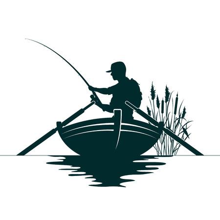 Pescatore con canna da pesca e canne