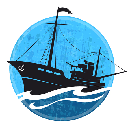 Fishing boat on a blue wave vector