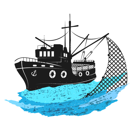 Barca da pesca sulle onde con reti net