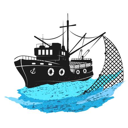 Barco de pesca sobre las olas con redes