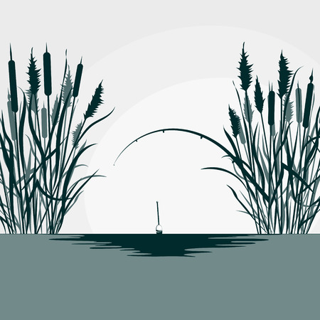 Fishing rod and reeds silhouette for fishing Illustration