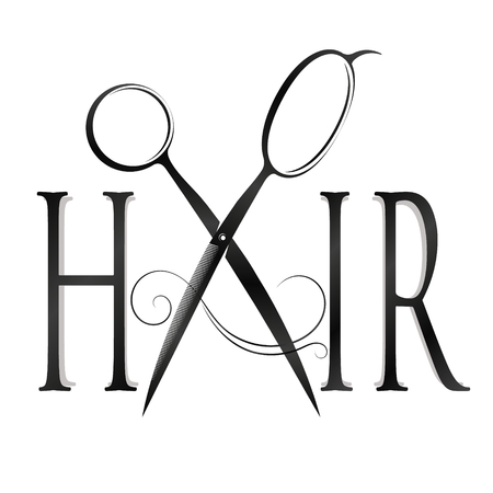 Scissors and lock of hair design for hair stylist