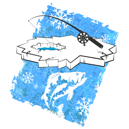 Fishing rod and fish ice fishing design Stock Illustratie