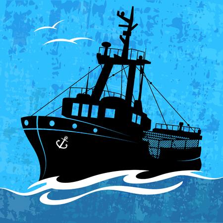 Fishing ship on the high seas vector Ilustración de vector