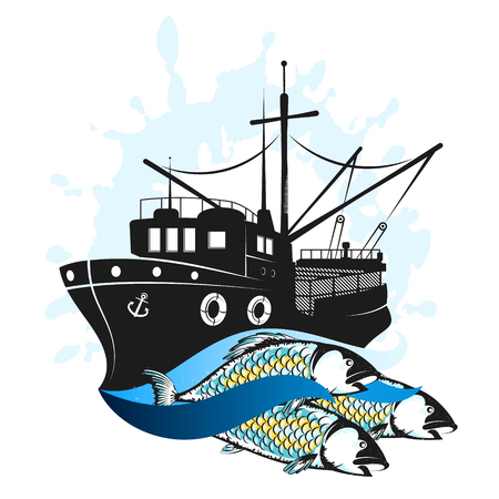 Fishing boat in the sea with a catch Illustration