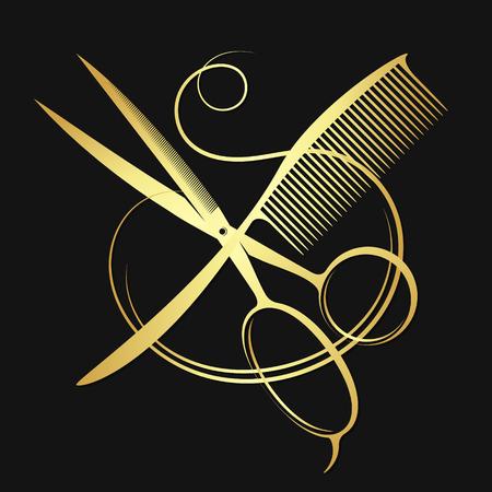 Forbici d'oro e pettine con i capelli