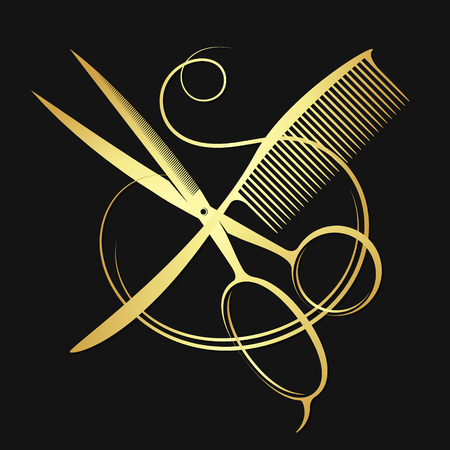Gold scissors and comb with hair Illustration