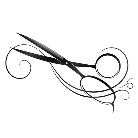 Scissors and hair silhouette for a beauty salon