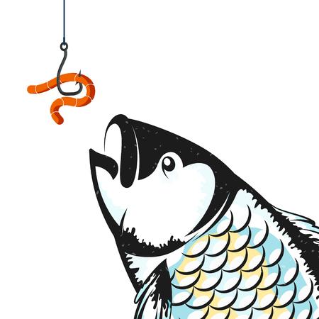 Appâts de vers sur la silhouette de l'hameçon et du poisson Vecteurs