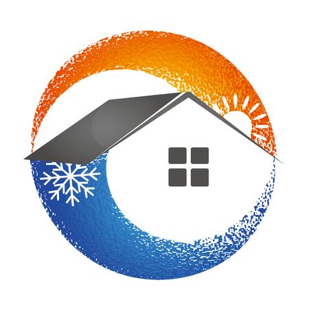 Soleil chauffant et flocon de neige rafraîchissant pour le symbole de la maison