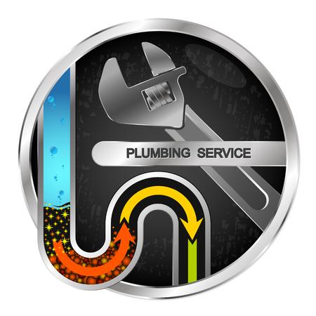 Clearing repair of water pipes and plumbing symbol Illustration