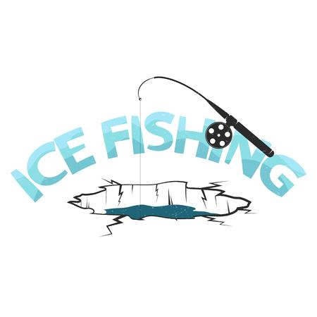 Silhouette de trou de pêche sur glace
