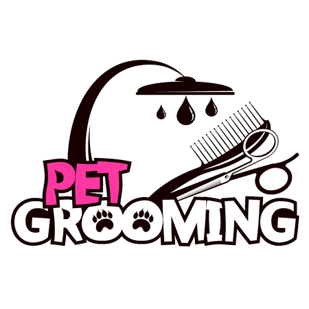 Scissors and a comb for pet grooming and washing