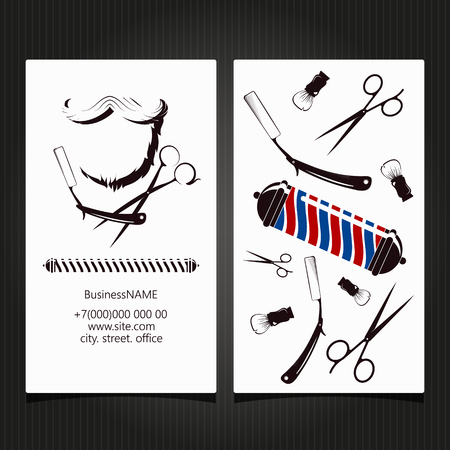 Barbershop and hairdresser business card concept