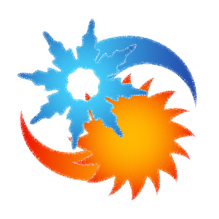 Sun and snowflake abstraction air conditioner symbol Vettoriali