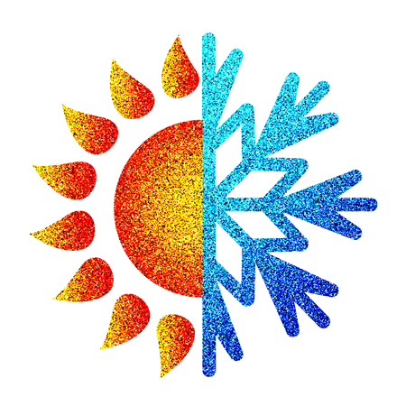 Sun and snowflake heating and cooling symbol for business