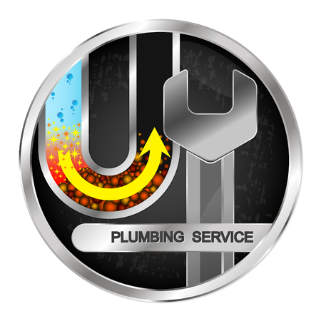 Cleaning and maintenance of water pipes and plumbing symbol