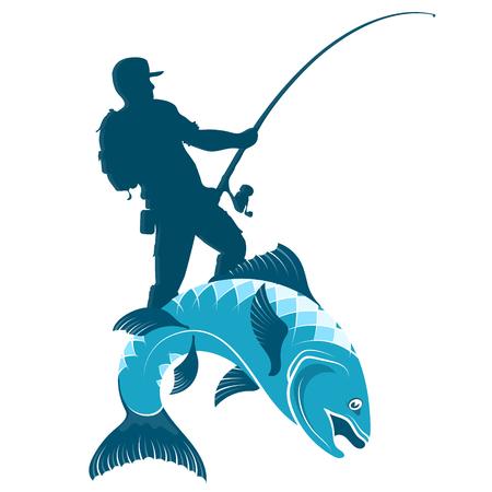 Pescador con spinning capturando peces silueta Ilustración de vector