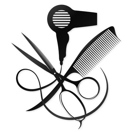 Ciseaux, peigne et sèche-cheveux