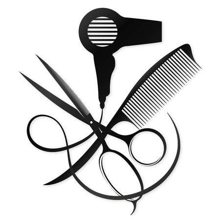 Scissors, comb and hair dryer