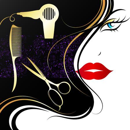 Visage d'une belle fille aux boucles dorées. Salon et coiffeur Vecteurs