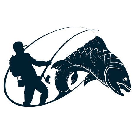 Fisherman silhouette and fish