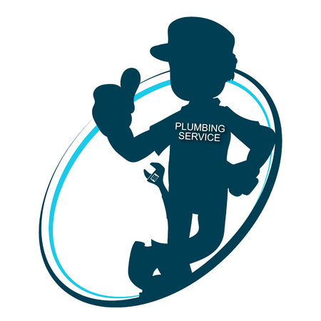 Plumber with a wrench silhouette