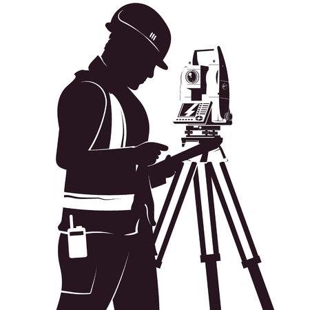 Topógrafo uniformado y silueta de estación total para geodesia