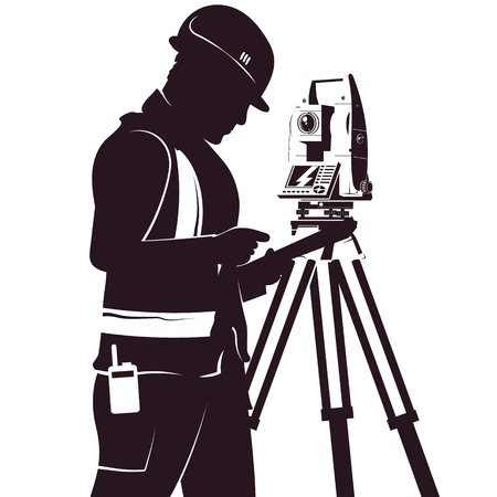 Uniformed surveyor and total station silhouette for geoedesy Ilustração