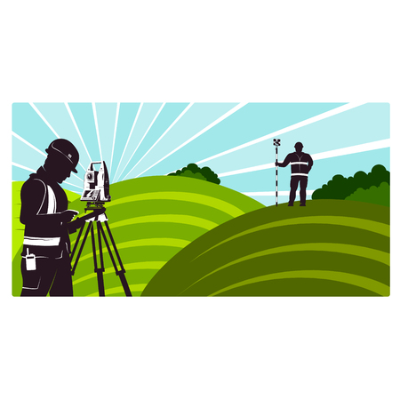 Surveyors with a geodimeter in the field Illustration