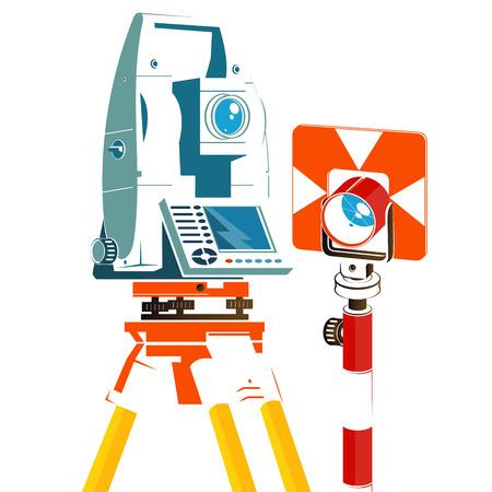 Taquímetro y reflector geodésico silueta para empresas Ilustración de vector
