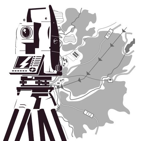 Silueta de mapa de área y estación total para topógrafo