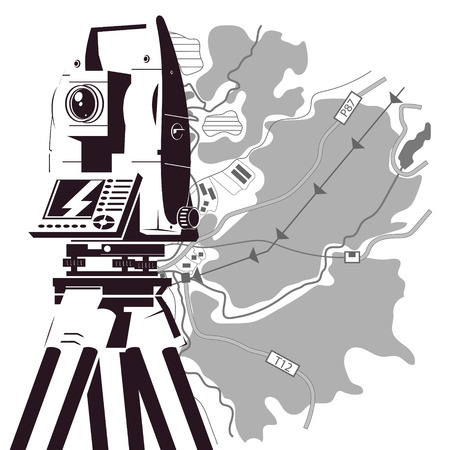 Total station and area map silhouette for surveyor