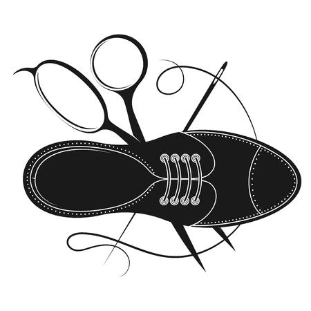 Shoe with scissors shoe repair design