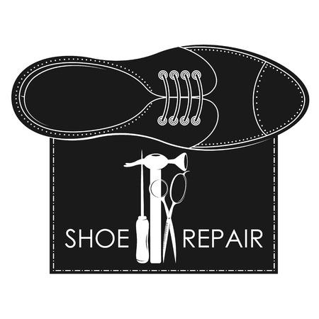 Shoe repair design with various tools Illustration