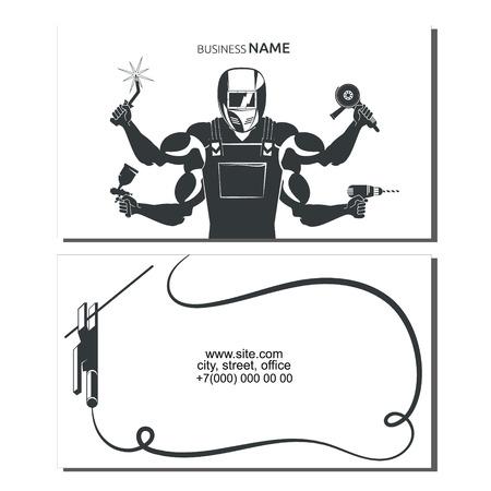 Welder with a tool for welding a business card Illusztráció