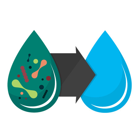Dirty water drop and clean filtering Illustration